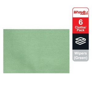WypAll® Microfibre Cloths 83630 - Green, (1 carry pack x 6 cloths)
