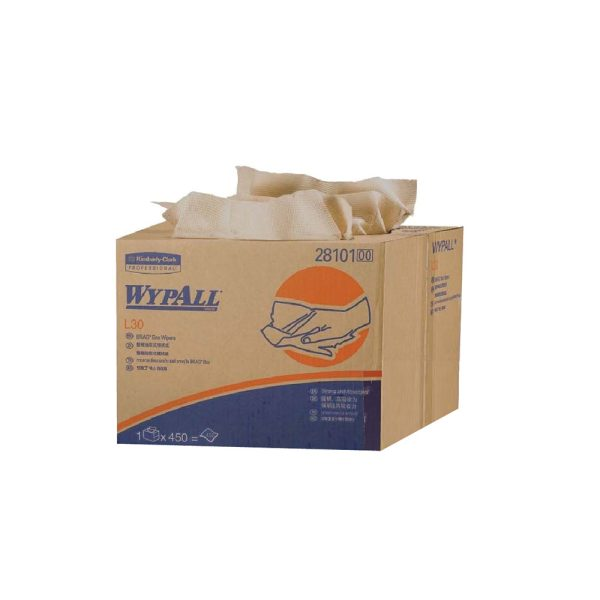 WypAll® L30 Wipers, Brag™ Box, 28101 - Brown, (1 Box x 450 Sheets) & 3 ply