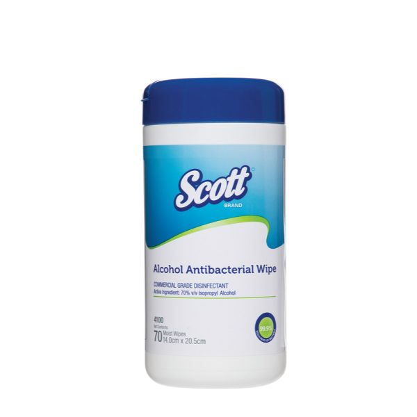 Scott® Alcohol Antibacterial Wipes 4100 - White, (1 canister x 70 pre-moistened wipes)